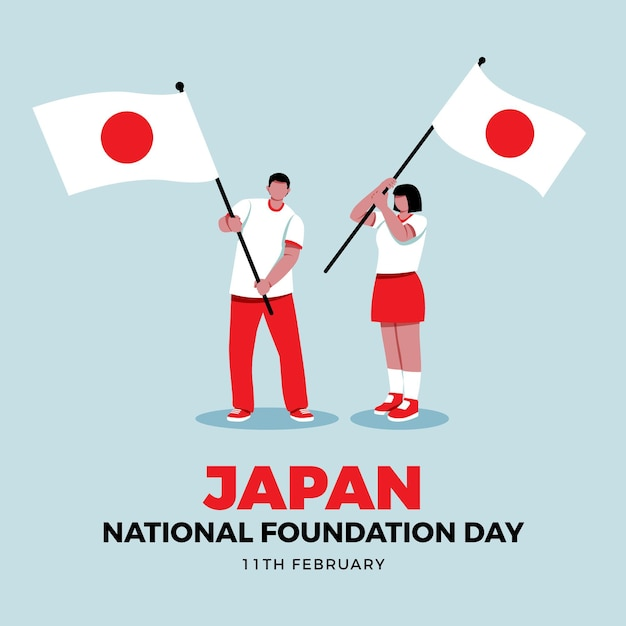Flat design foundation day japan flags Free Vector