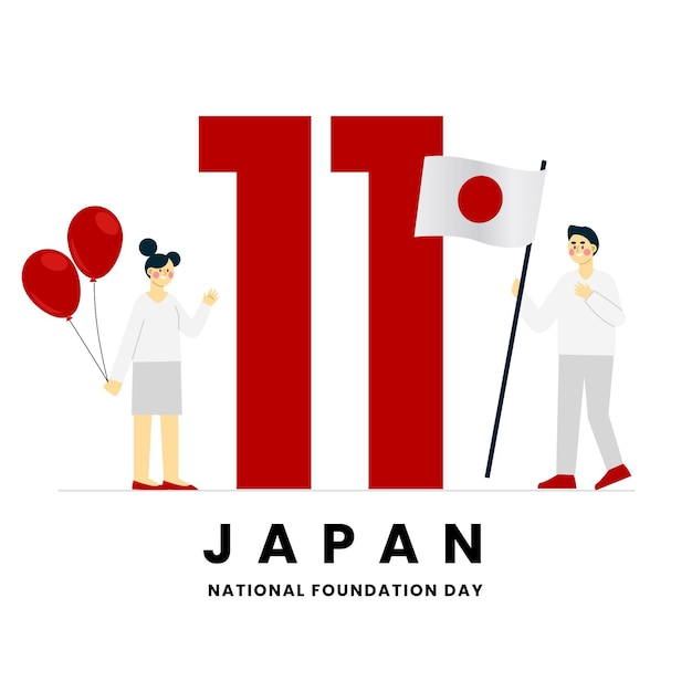 Flat design foundation day (japan) Free Vector