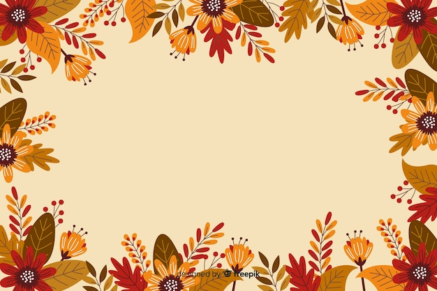 Flat design frame for thanksgiving background Free Vector