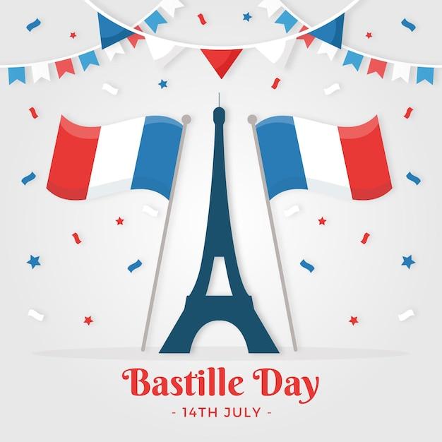 フラットなデザインフランス革命記念日 無料ベクター
