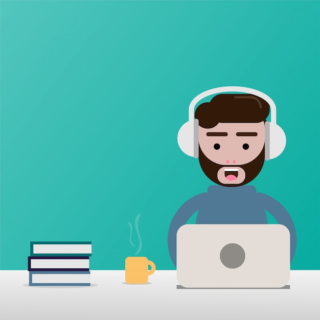 Flat design freelance man and outside working office Premium Vector