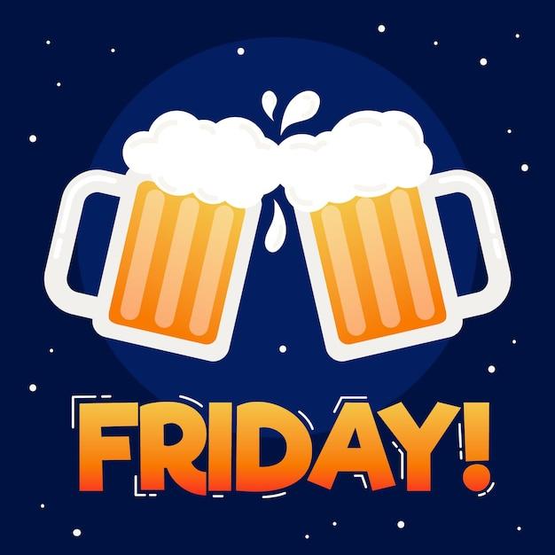 Sfondo di venerdì design piatto con birre Vettore gratuito