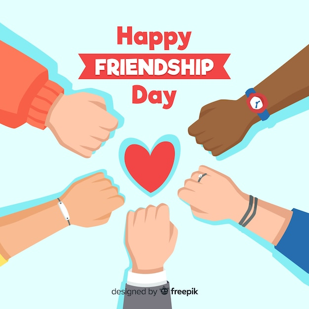Flat design friendship day background Free Vector