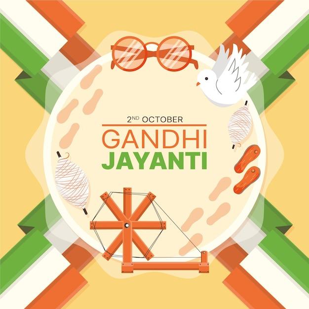 Flat designgandhi jayanti event indian flag Premium Vector