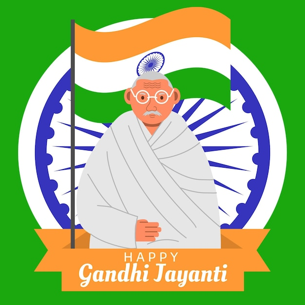 Flat designgandhi jayanti and flag event Free Vector