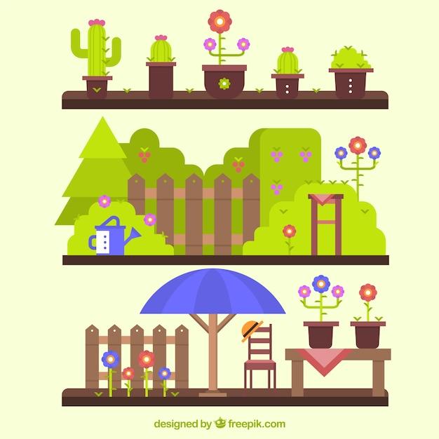 Flat design garden landscapes Vector | Free Download