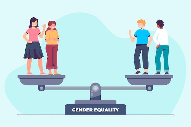 남자와 여자와 평면 디자인 남녀 평등 illustartion 무료 벡터