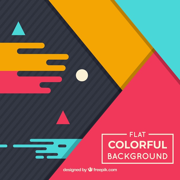 Flat design geometric colorful background Vector | Free