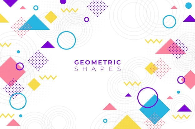 Flat design geometric shapes background in memphis style Free Vector