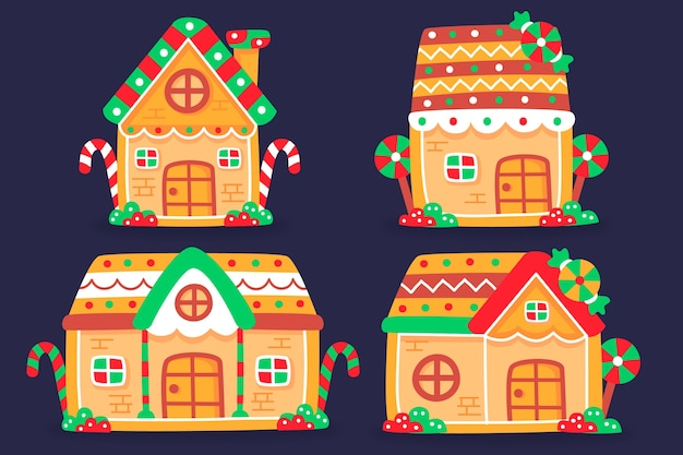 Flat design gingerbread house collection Free Vector