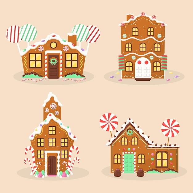 Collezione di illustrazione casa di marzapane design piatto Vettore gratuito