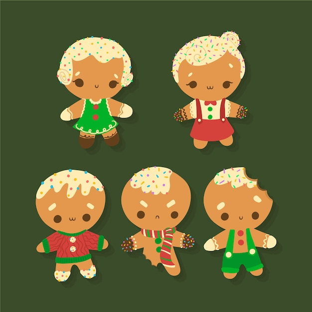 Flat design gingerbread man cookie collection Free Vector