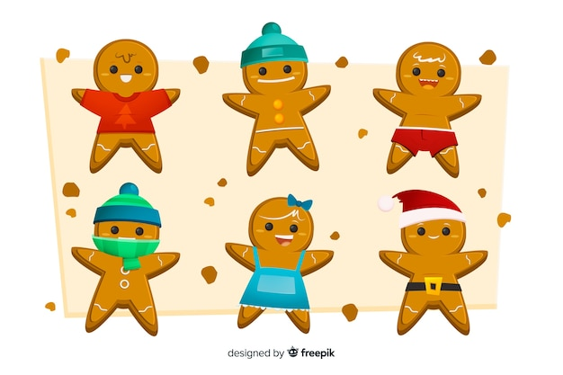 Flat design of gingerbread man cookie collection Free Vector