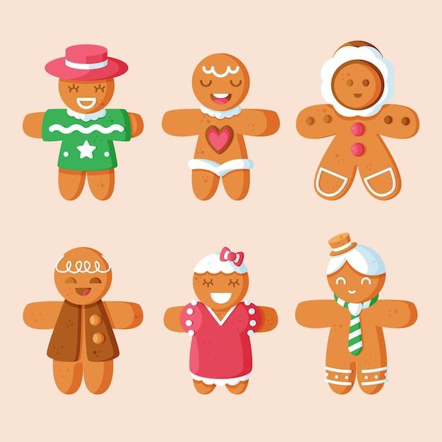 フラットデザインのジンジャーブレッドマンクッキーコレクション 無料ベクター