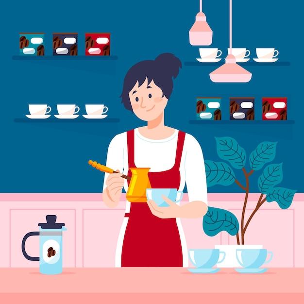 Плоский дизайн девушка делает кофе Бесплатные векторы