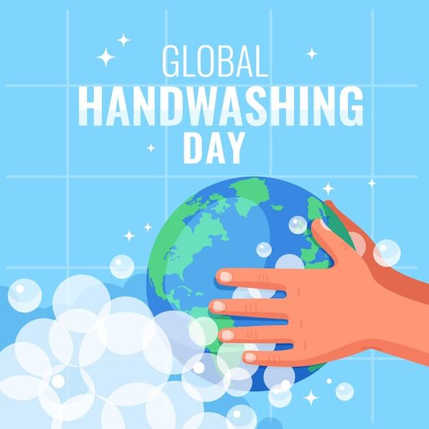 Giornata mondiale del lavaggio delle mani design piatto con le mani e il globo Vettore gratuito