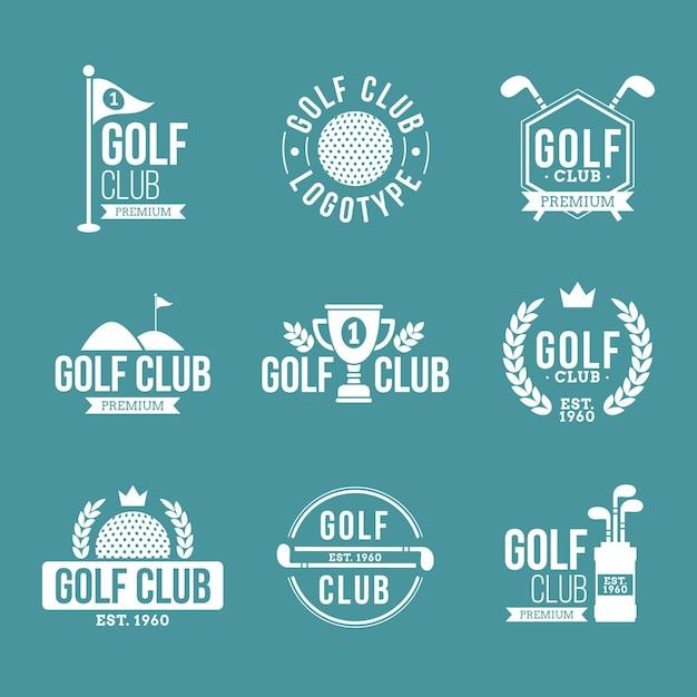 평면 디자인 골프 로고 컬렉션 무료 벡터