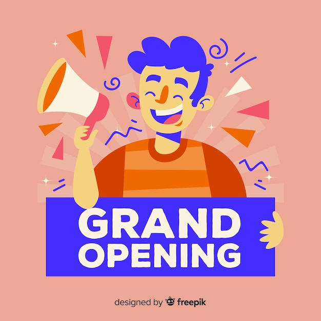 Flat design grand opening with person holding sign Free Vector