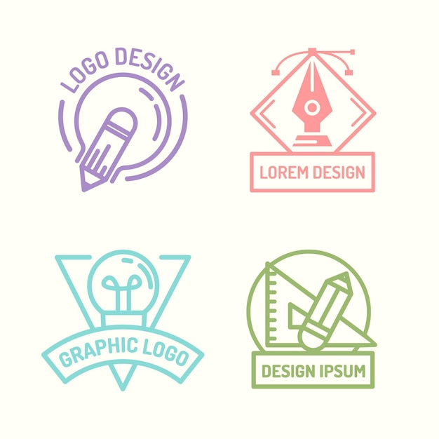 Flat design graphic designer logo collection Premium Vector