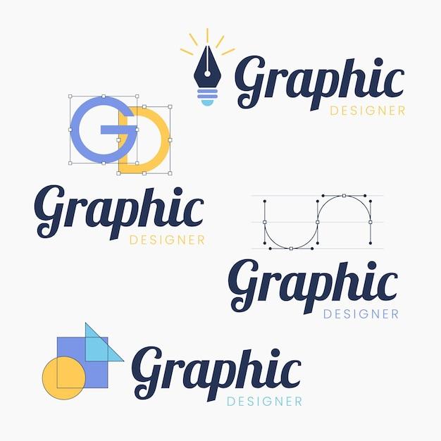 Flat design graphic designer logo collection Premium Vector