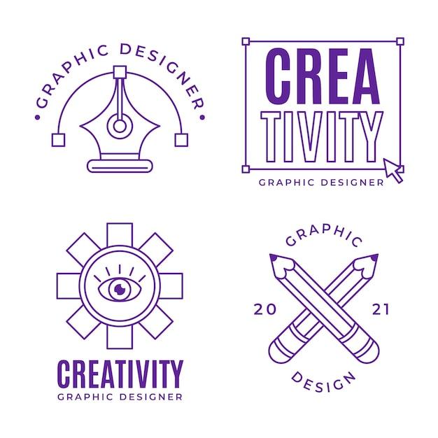 평면 디자인 그래픽 디자이너 로고 컬렉션 프리미엄 벡터