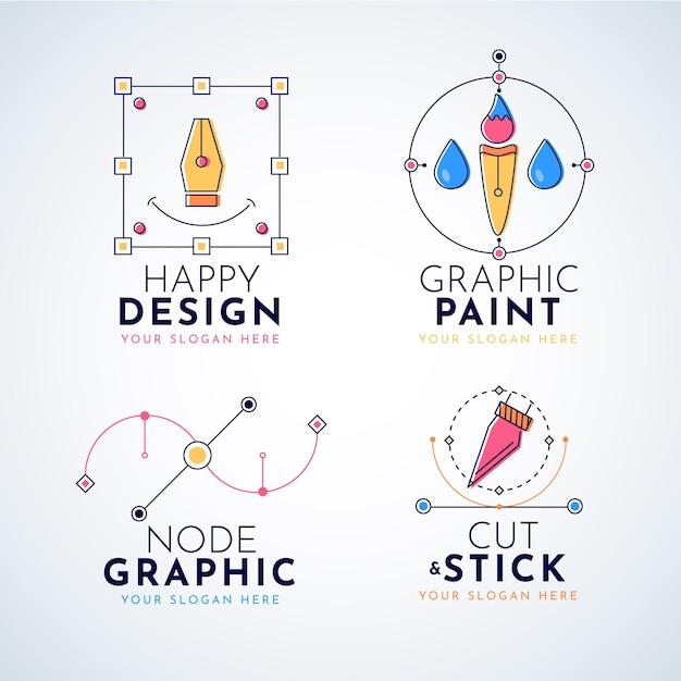 평면 디자인 그래픽 디자이너 로고 컬렉션 무료 벡터