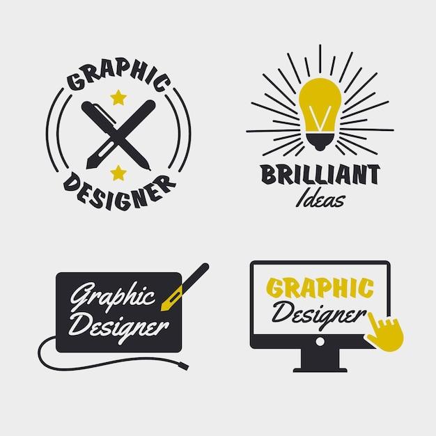 Flat design graphic designer logo pack Premium Vector