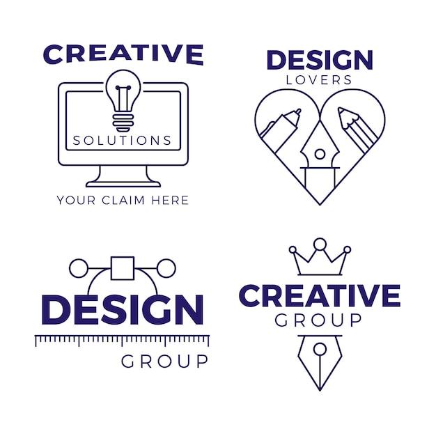 평면 디자인 그래픽 디자이너 로고 팩 프리미엄 벡터