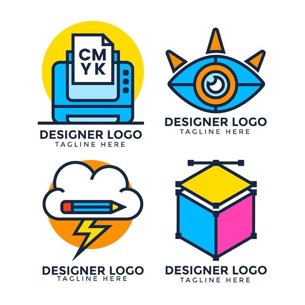 평면 디자인 그래픽 디자이너 로고 팩 무료 벡터