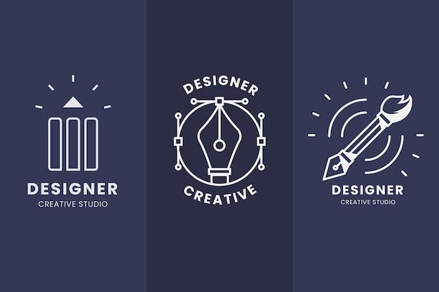 평면 디자인 그래픽 디자이너 로고 세트 프리미엄 벡터