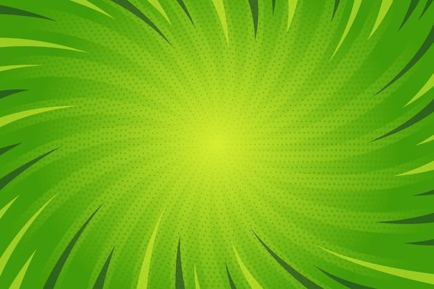 フラットなデザインの緑のコミックスタイルの背景 無料ベクター