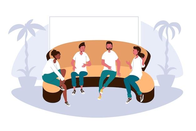 Terapia di gruppo design piatto con persone sul divano Vettore gratuito