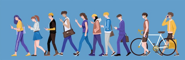 Flat design, group of young people using smartphone, texting and talking. Premium Vector