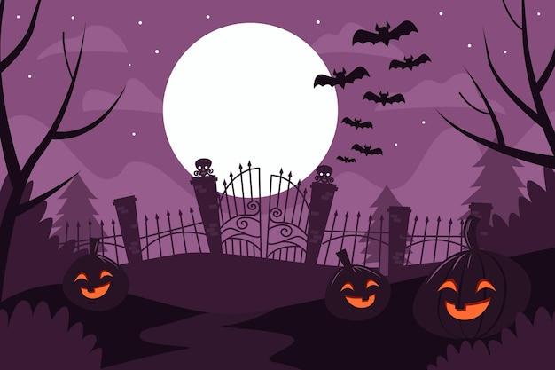 Плоский дизайн хэллоуин фон с тыквами и летучими мышами Premium векторы