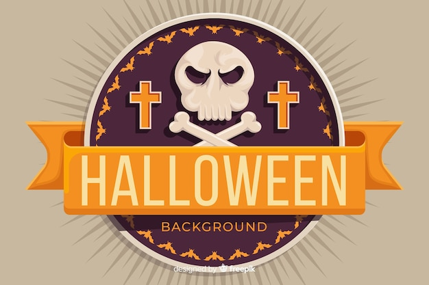 Flat design of a halloween background Free Vector