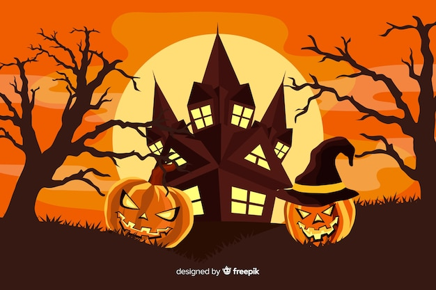 Flat design halloween background Free Vector