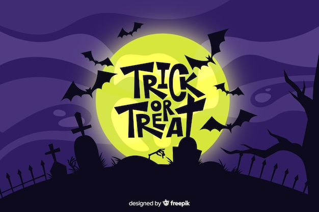 Flat design of halloween background Premium Vector