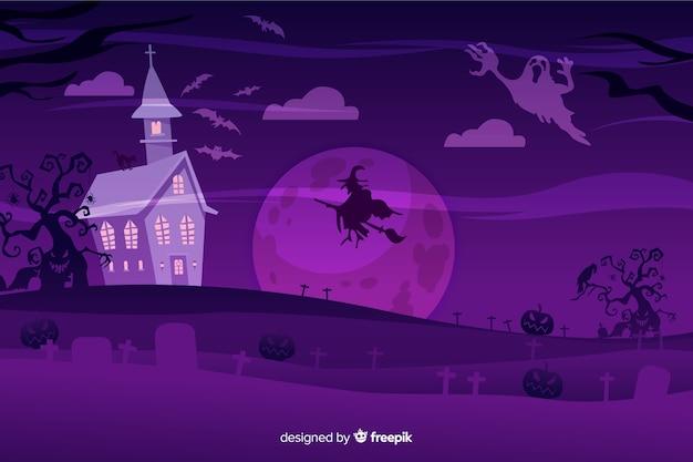 Flat design of  halloween background Free Vector