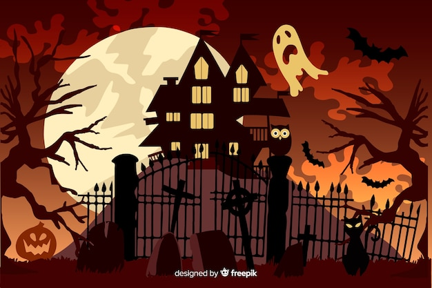 Flat design of halloween background Free Vector