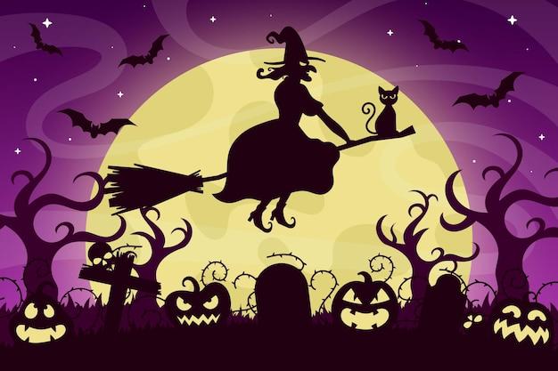 Sfondo di halloween design piatto Vettore gratuito