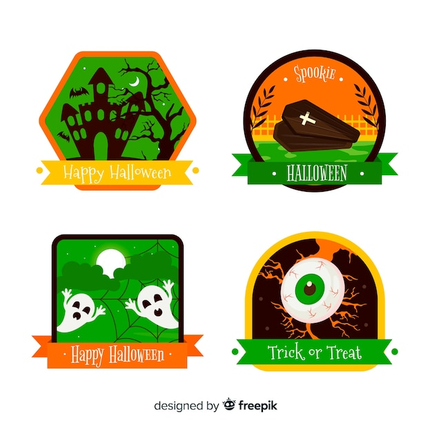 Flat design halloween badge collection Free Vector