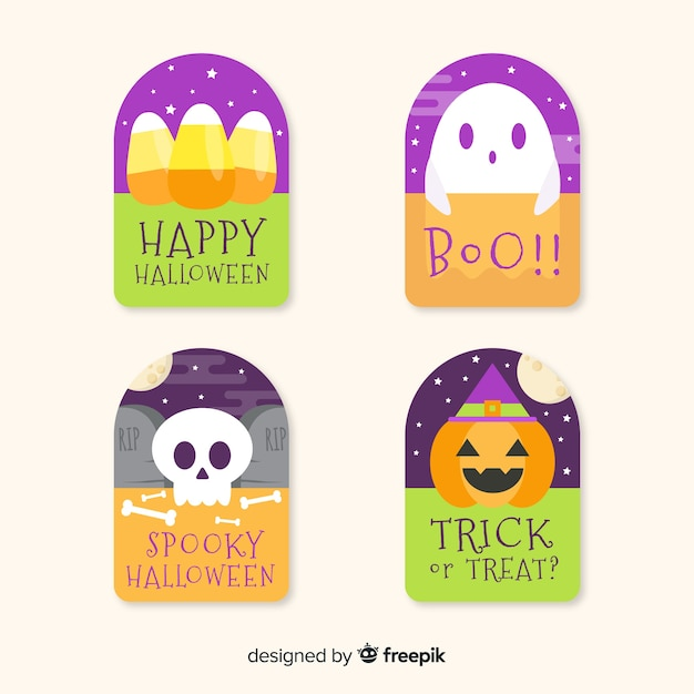 Flat design halloween badge collection Free Vector