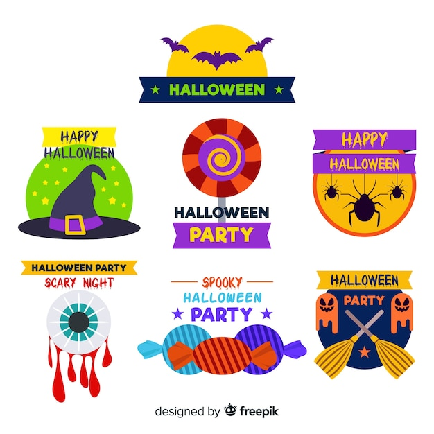 Flat design of halloween badge collection Free Vector