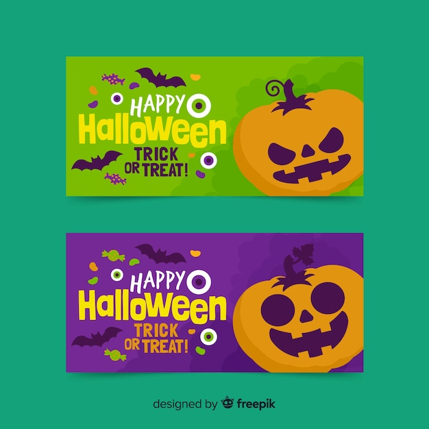 Flat design of halloween banners with pumpkins Free Vector