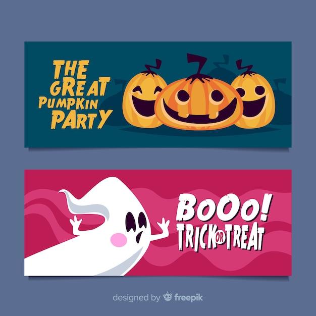 Flat design of halloween banners Free Vector