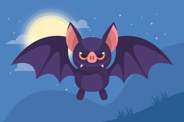 Flat design halloween bat Free Vector