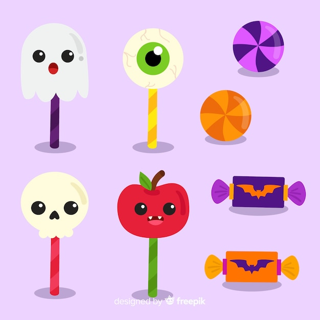 Flat design halloween candy collection Free Vector