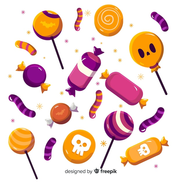 Flat design of halloween candy collection Free Vector