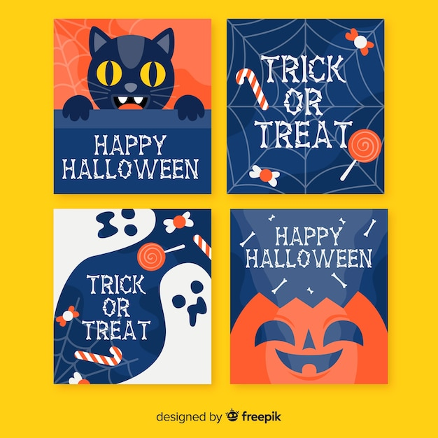 Flat design halloween card collection Free Vector