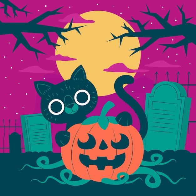 Gatto di halloween design piatto nel cimitero Vettore gratuito